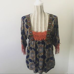 Boho Top with Crochet Details and Fringe